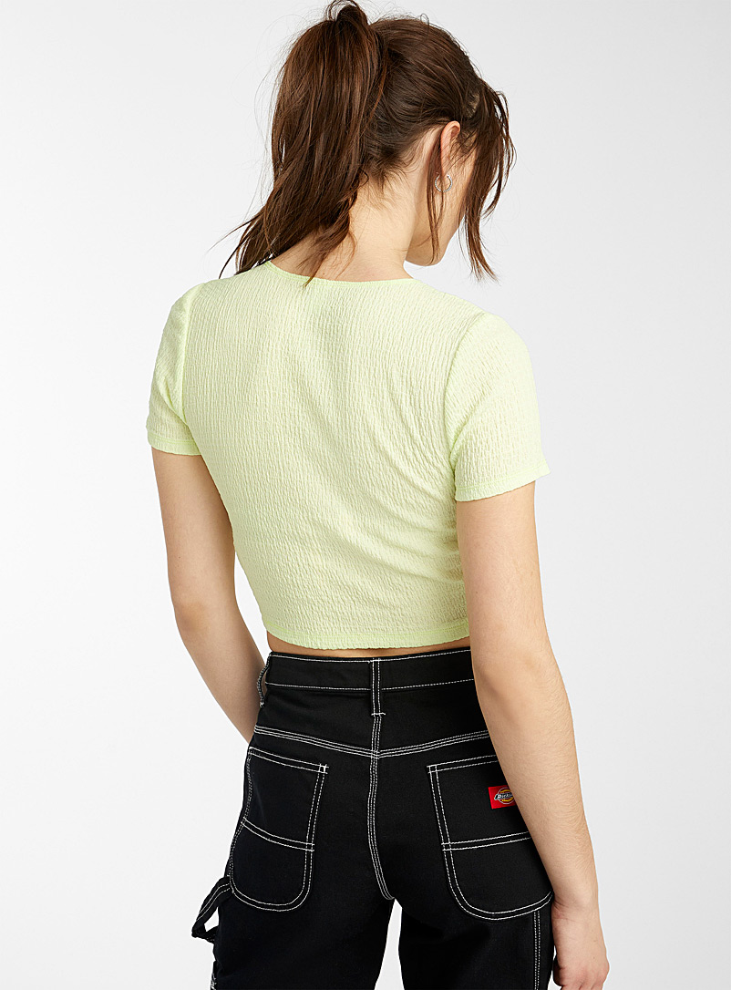 Twik Pink Crinkled cropped tee for women