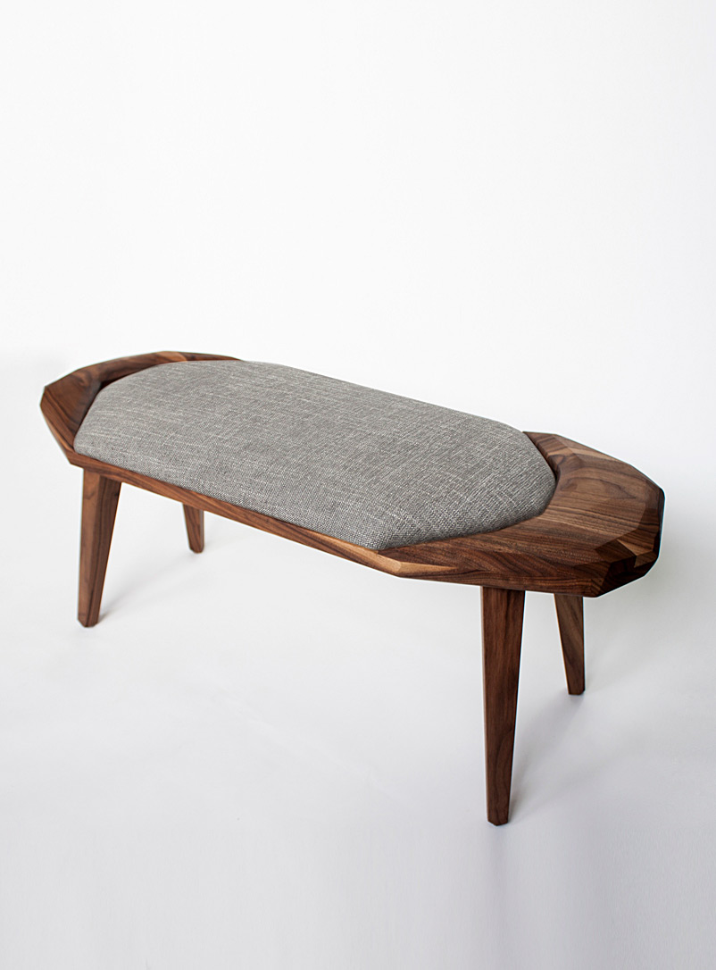 Nadine Hajjar Studio Walnut Sculpted walnut geo stool