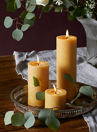 Beeswax pillar trio