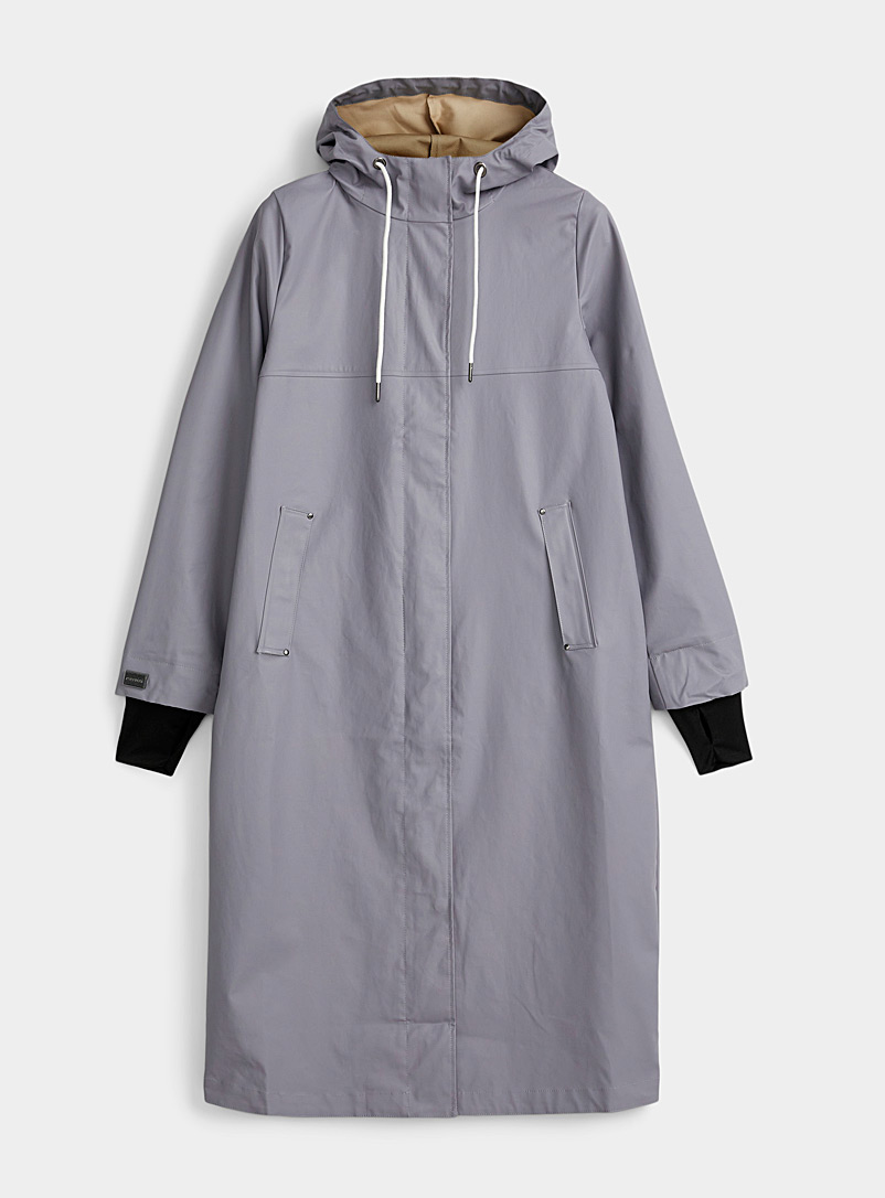 Mernini Dark Grey Natural hue maxi raincoat for women