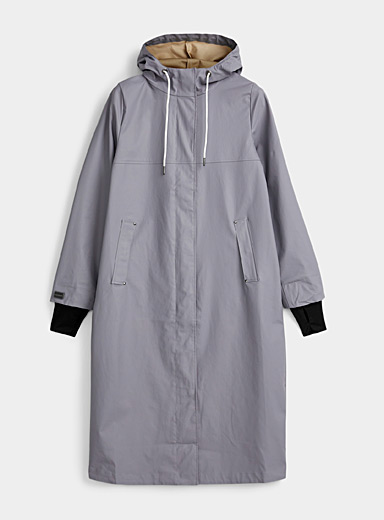 Natural hue maxi raincoat