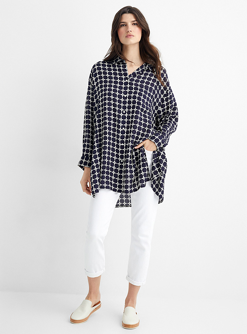 Masai Patterned Blue Ilta check tunic shirt for women