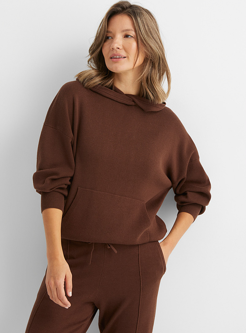 Paper Label Brown Kay chocolate hooded sweater for women