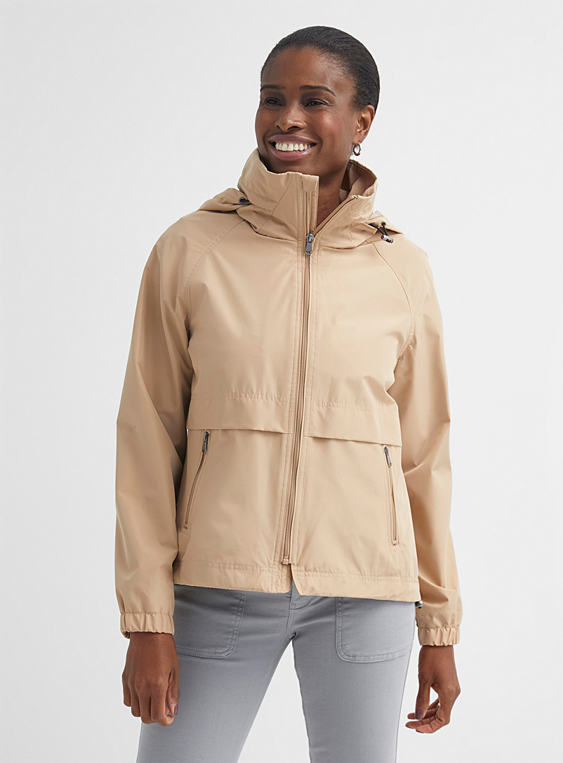 Contemporaine Sand Hidden-hood recycled polyester windbreaker for women