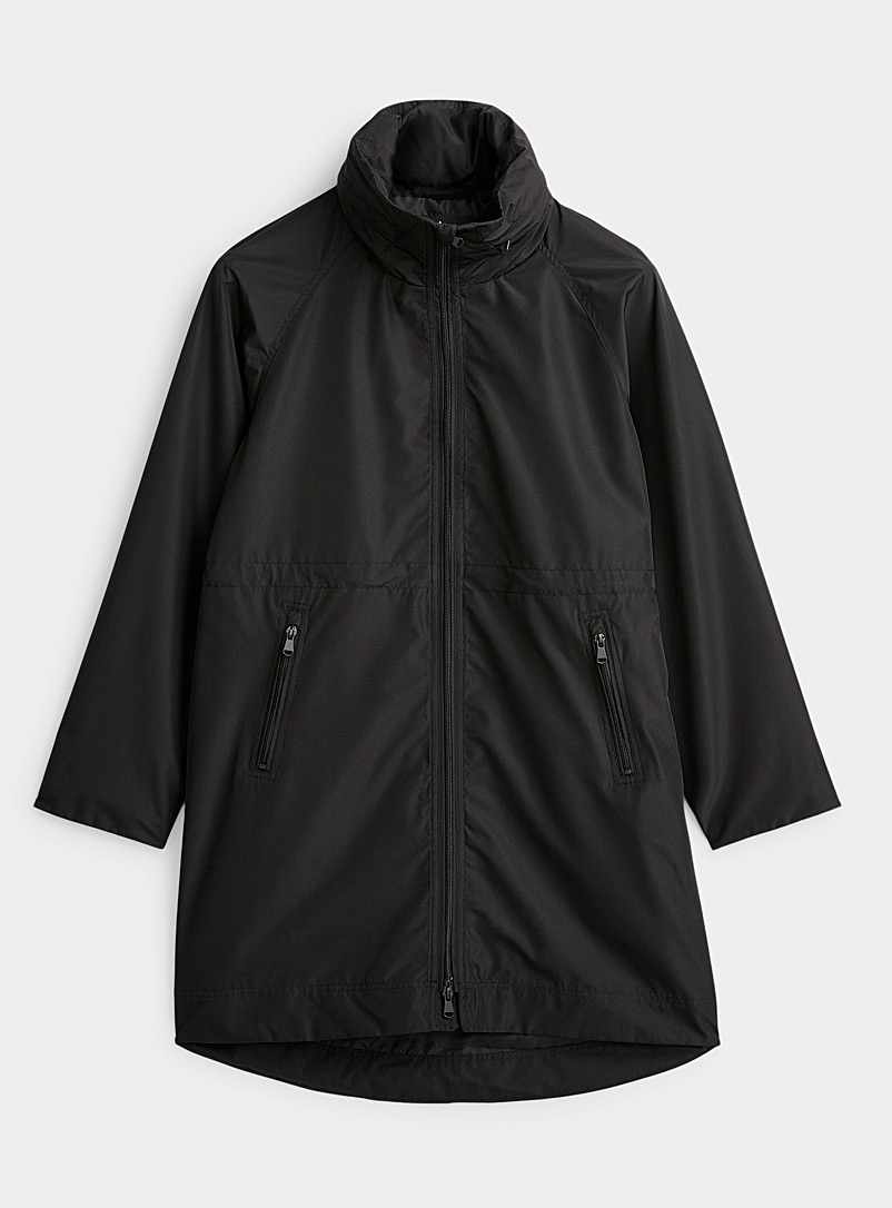 Contemporaine Black Fitted-waist recycled polyester windbreaker for women