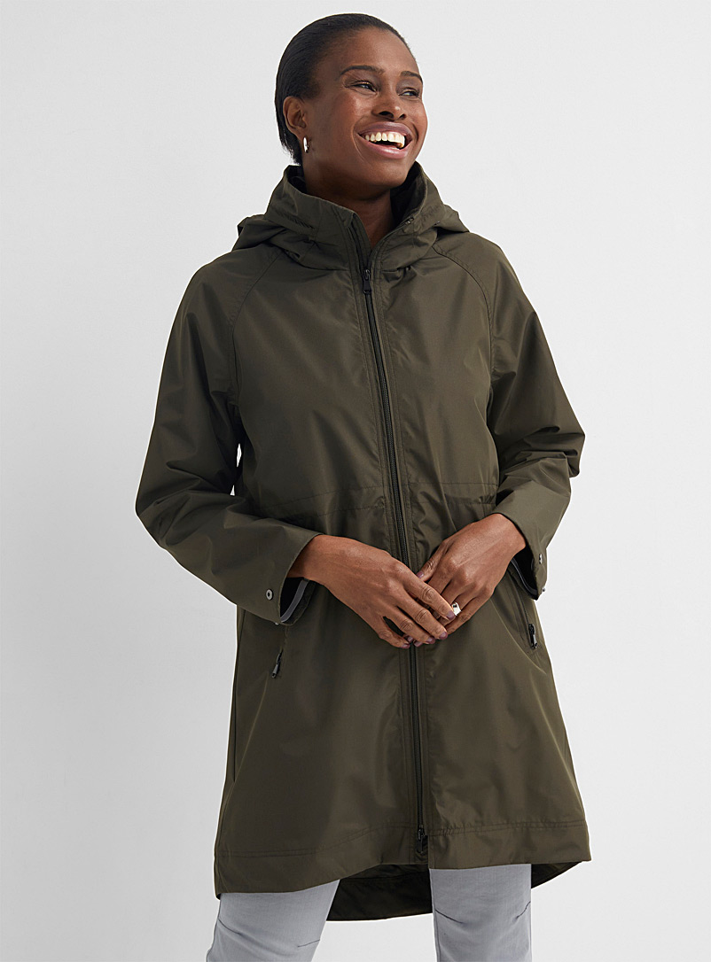 Contemporaine Khaki Fitted-waist recycled polyester windbreaker for women