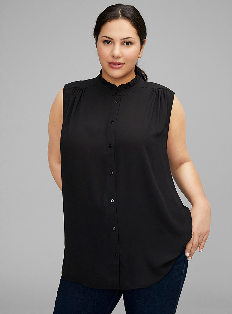 NYDJ Black Fluid ruffle-neck blouse Plus size for women