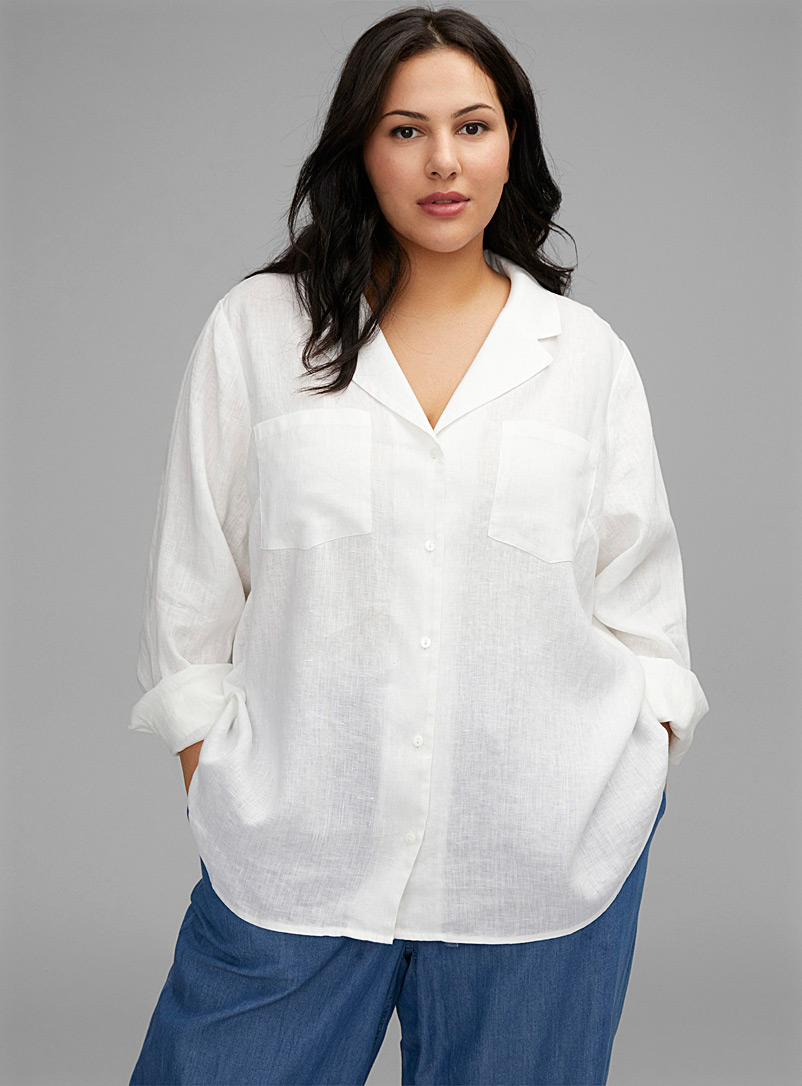 NYDJ White Notch-collar linen shirt for women