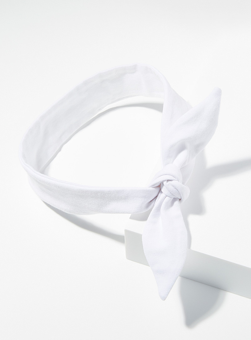 Billow Design White Organic cotton tie headband for women