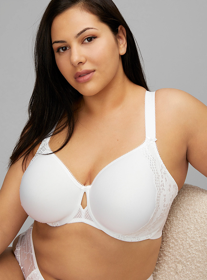 Elomi White Charley spacer full-coverage bra Plus size for women