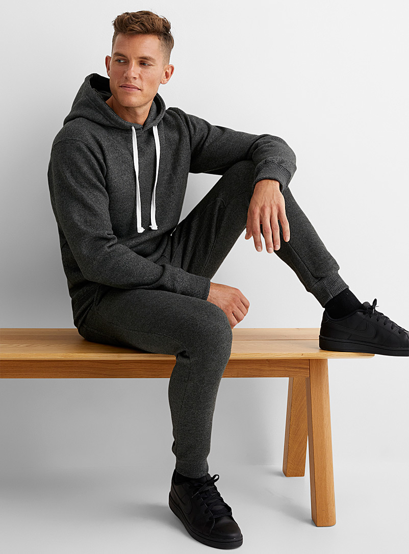 Le 31 Charcoal Fleece-lined knit joggers for men