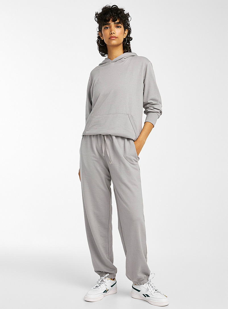 Twik Ivory White Terry-lined loose joggers for women