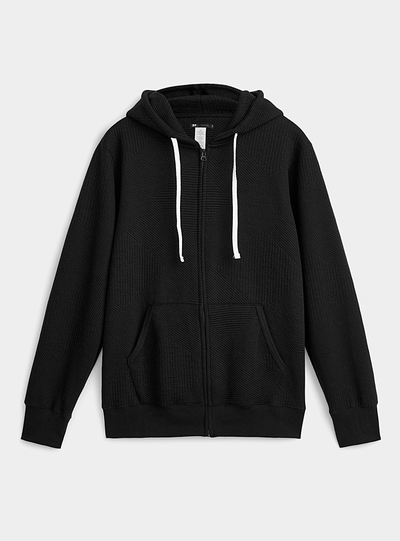 Le 31 Black Hooded graphic-line cardigan for men