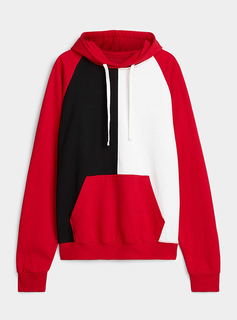 Djab Red Tricolour block hoodie for men