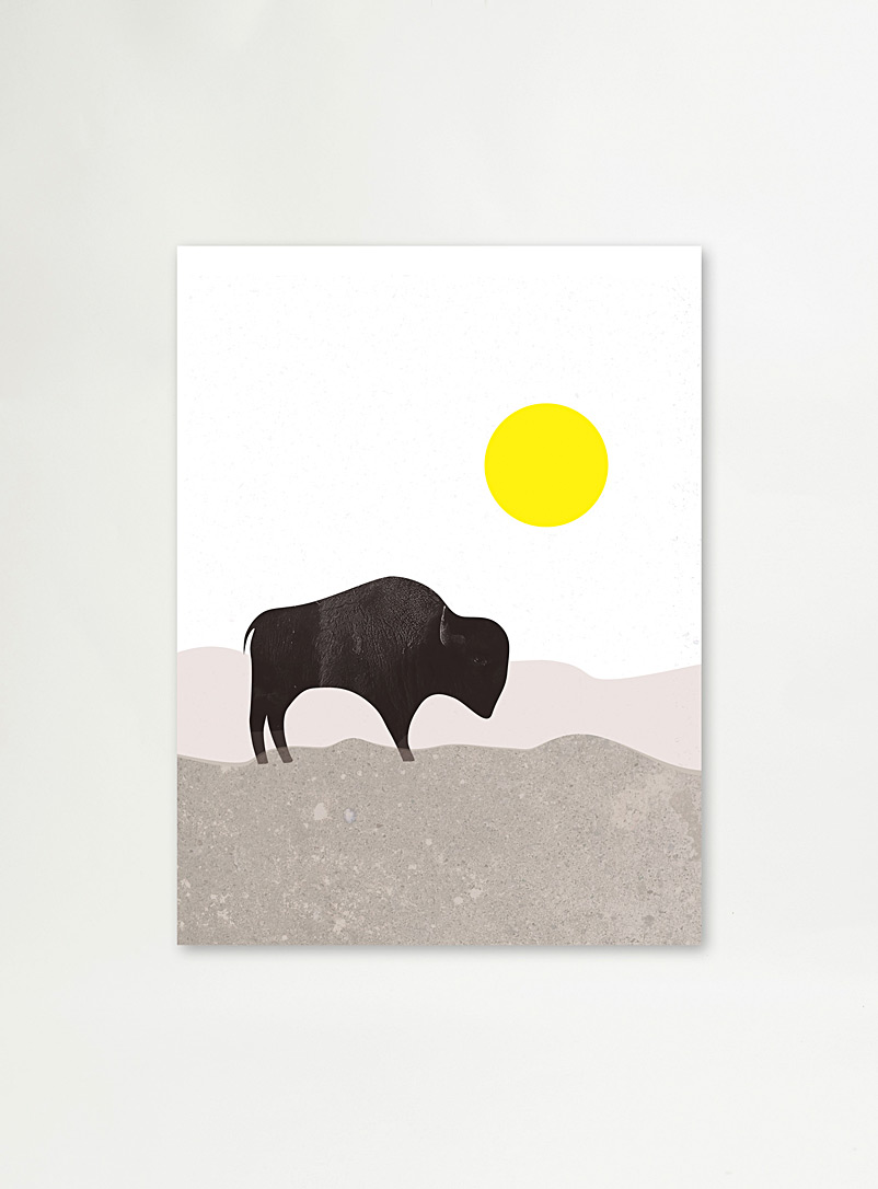 The Ba.sic Assorted Yellow sun bison art print 3 sizes available