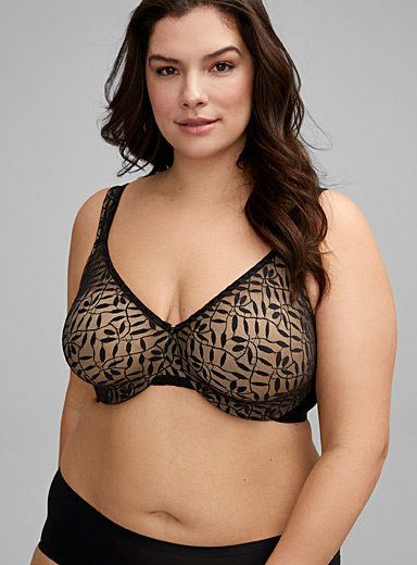 Sheer leaves full coverage bra Plus size