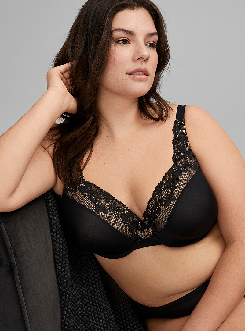 Olga Black Cloud 9 lace full coverage bra Plus size for women