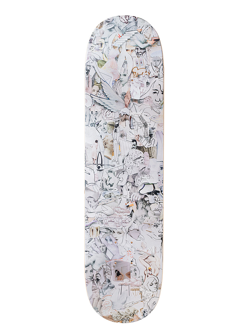 The Skateroom White Vik Muniz illustrated skateboard for men