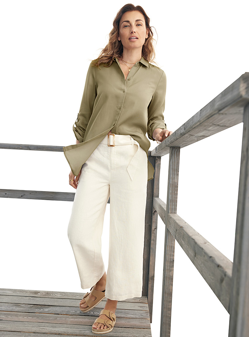 Contemporaine Ivory White Belted pure linen crop pant for women