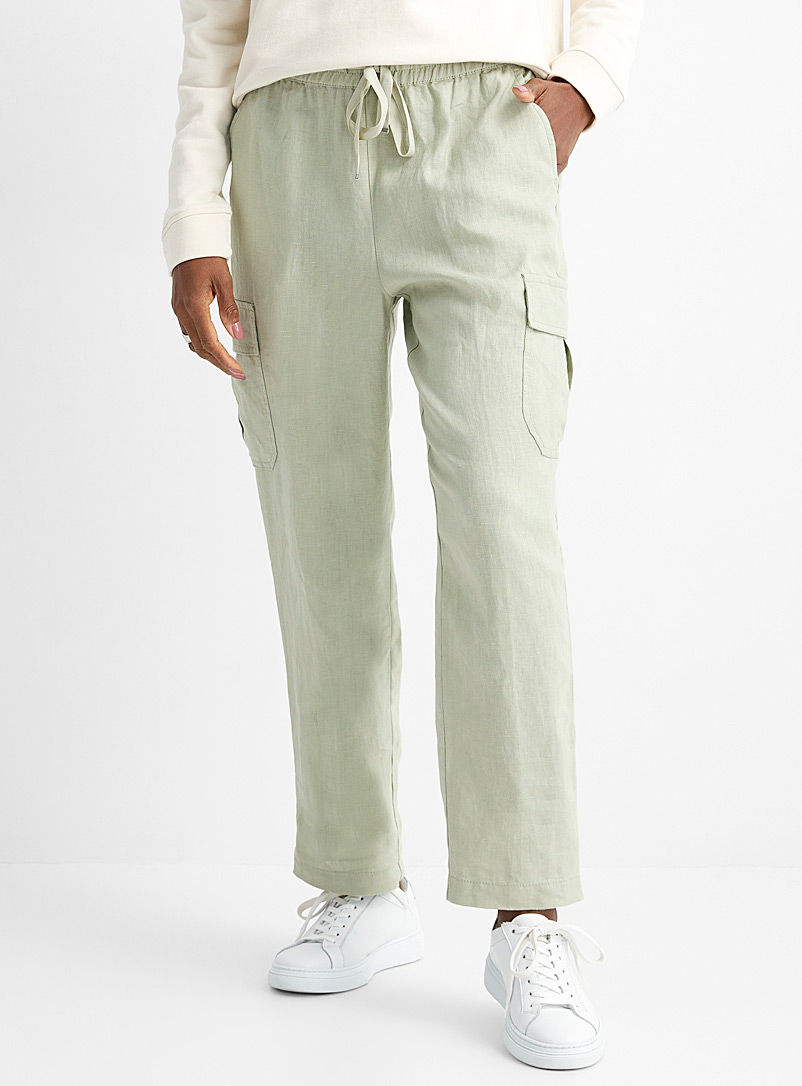 Contemporaine Lime Green Elastic waist pure linen pant for women