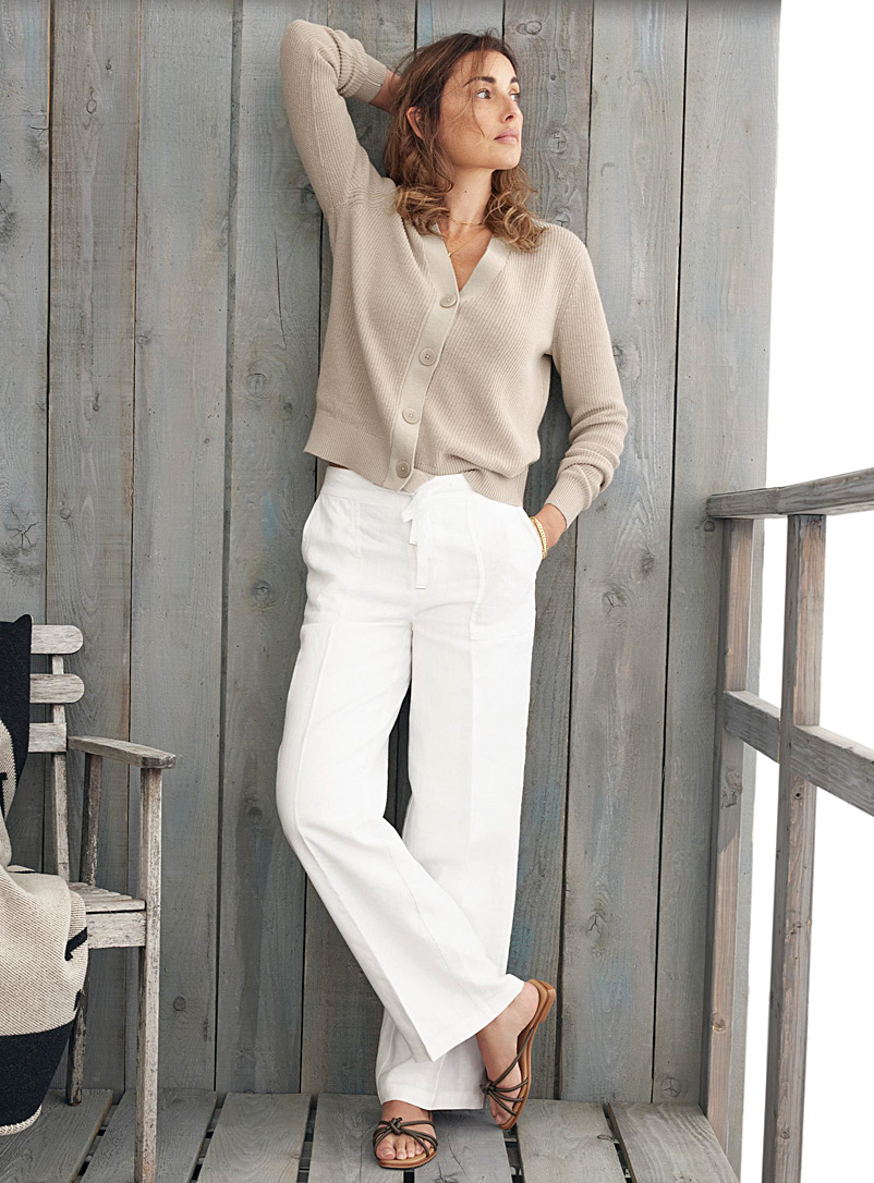 Contemporaine White Pure linen tie-waist pant for women