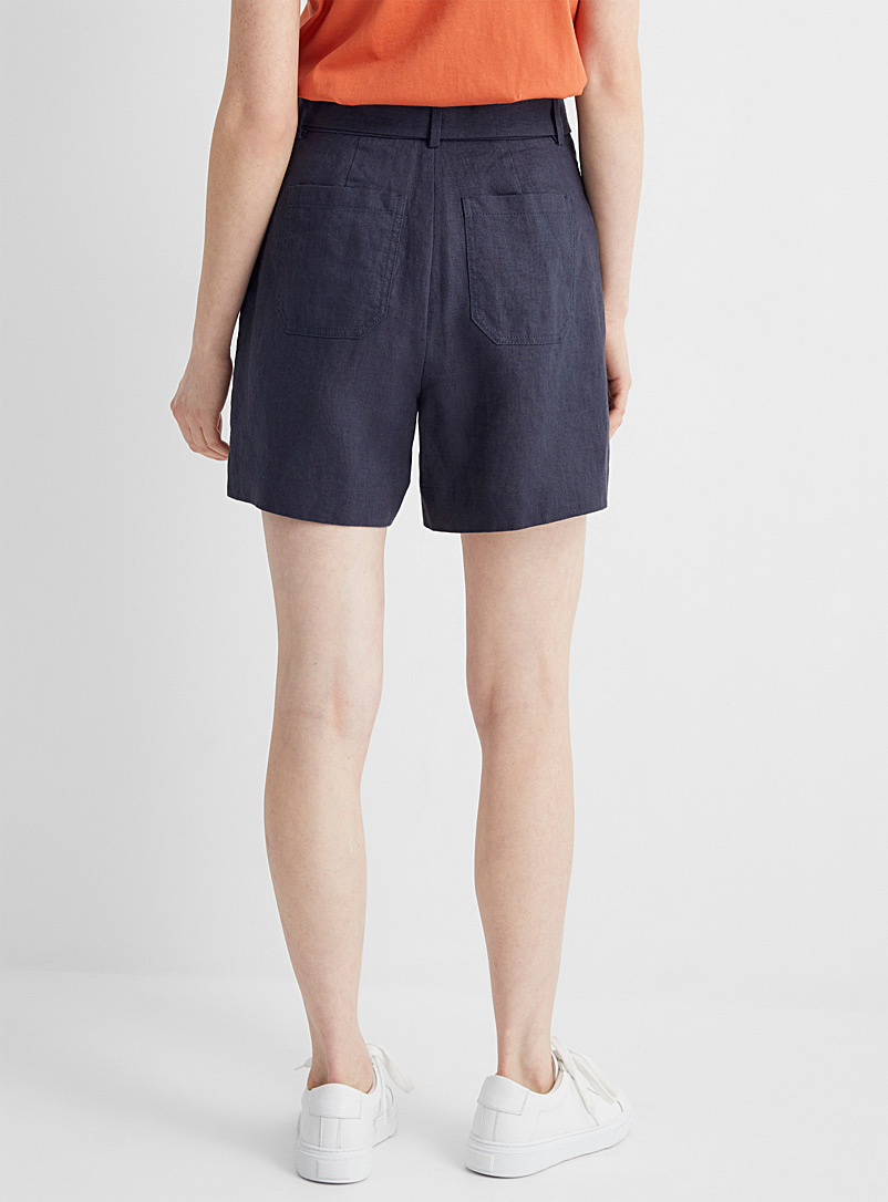 Contemporaine Lime Green Pure linen belted short for women