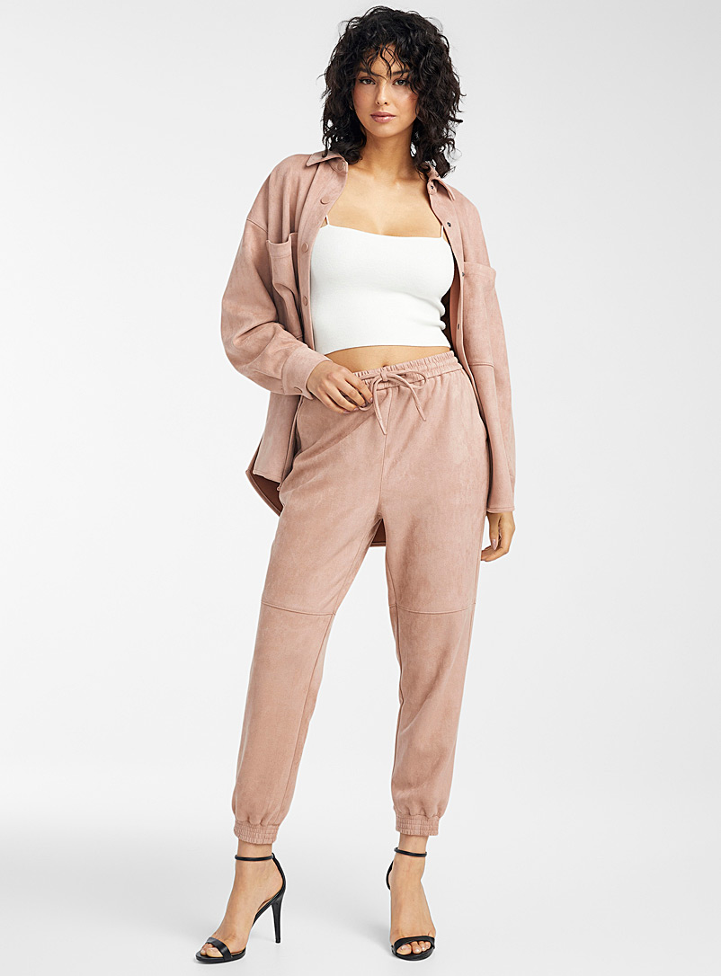 Icône Dusky Pink Faux-suede joggers for women