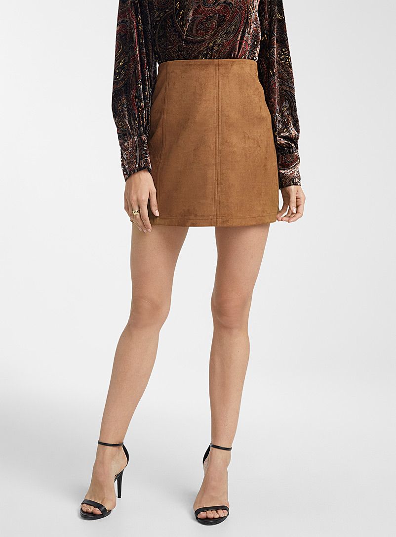 Icône Brown Faux-suede miniskirt for women