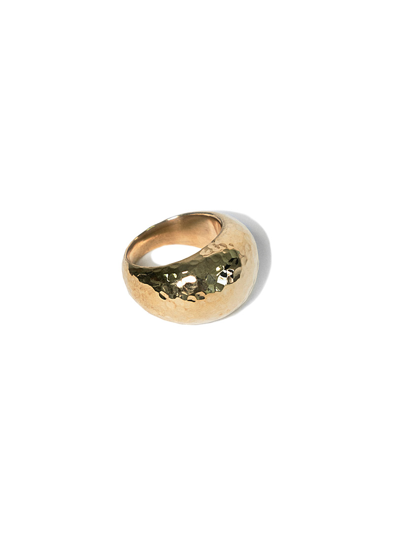 Obakki Golden Yellow Upcycled-brass dome ring for women