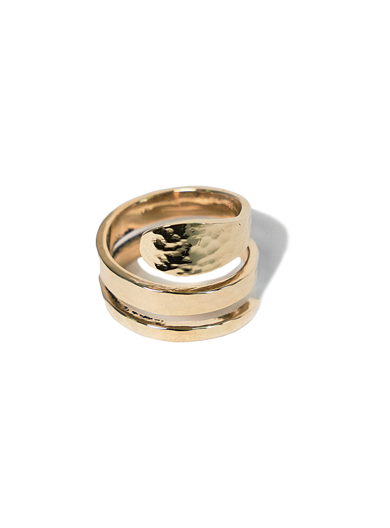 Obakki Golden Yellow Upcycled-brass spiral ring for women