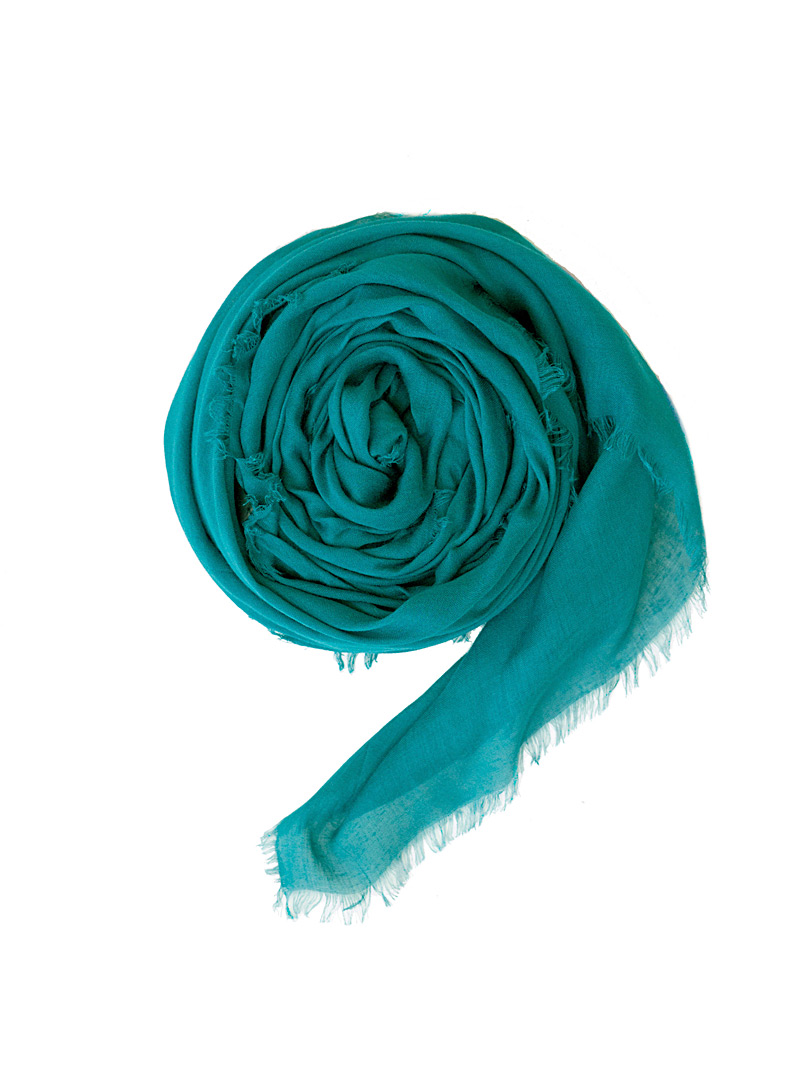 Obakki Teal Solid humanitarian scarf for women