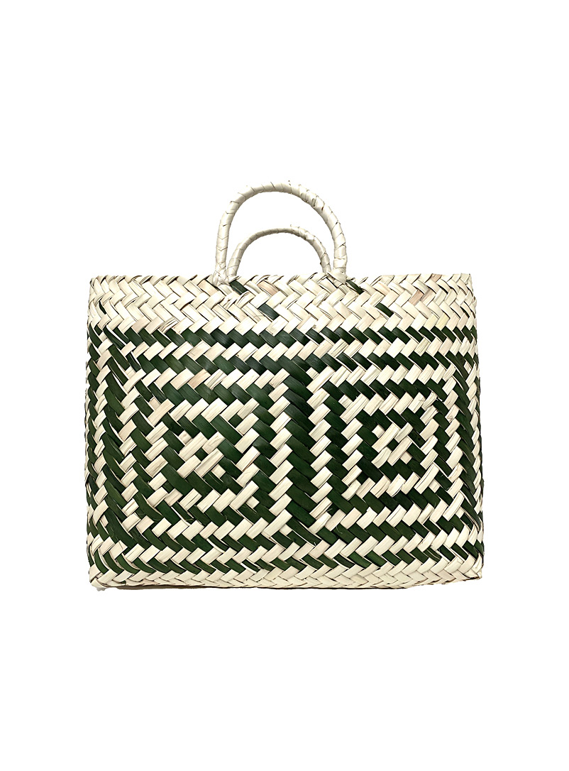 Obakki Mossy Green Large block woven palm tote bag for women