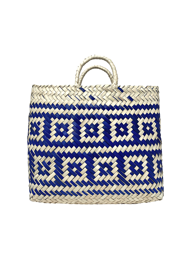 Obakki Mossy Green Small block woven palm tote bag for women
