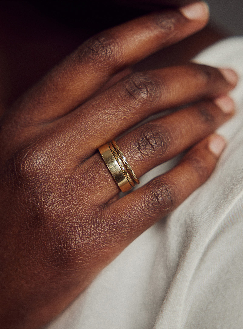 Obakki Golden Yellow Stacked Illusion upcycled-brass ring for women