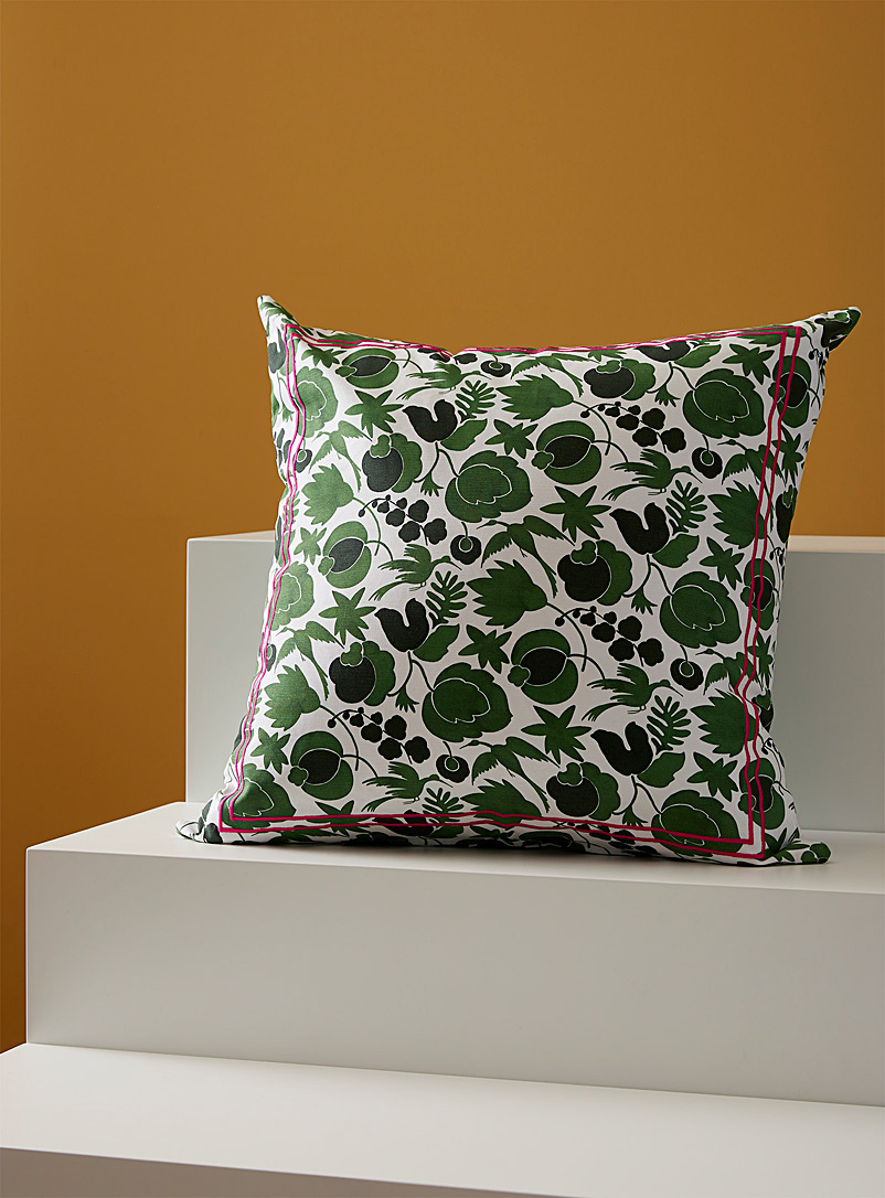 La DoubleJ Patterned Green Liverpool cotton cushion cover for women