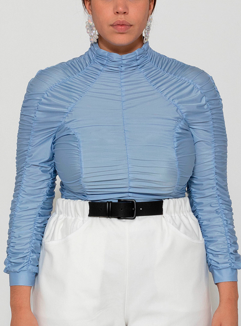 Ester Manas Baby Blue Ruched long-sleeve top for women