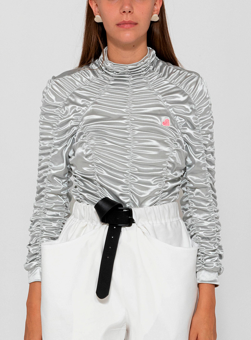 Ester Manas Silver Ruched long-sleeve top for women