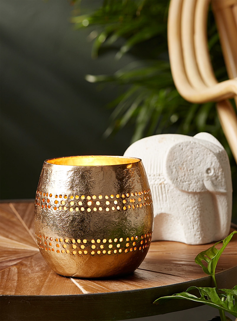 Simons Maison Assorted Dotted gold leaf candle holder