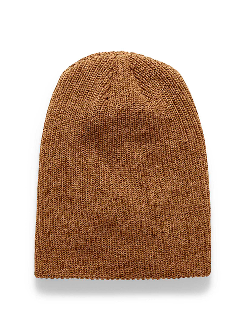 Le 31 Black Cuffed solid ribbed tuque for men