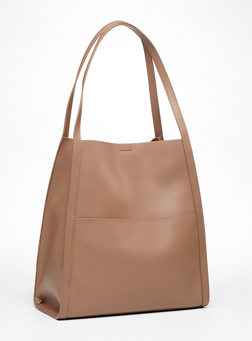 Simons Light Brown Recycled polyurethane trapeze tote bag for women
