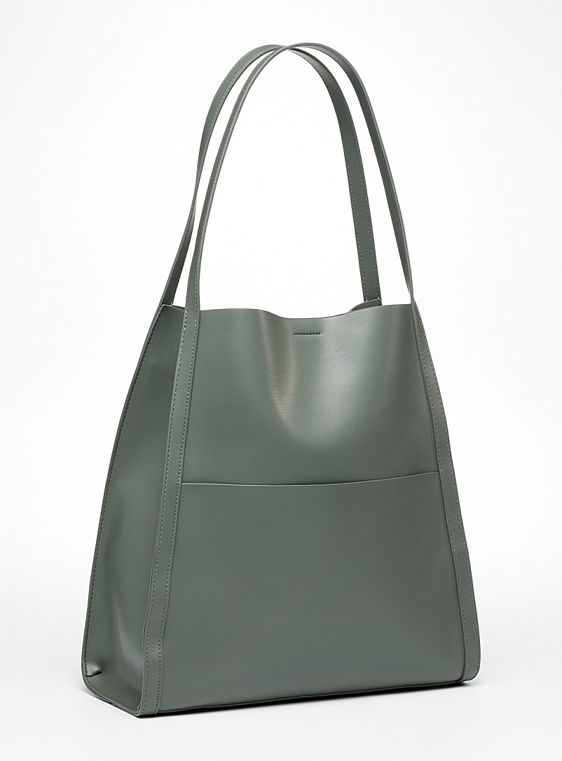 Simons Mossy Green Recycled polyurethane trapeze tote bag for women