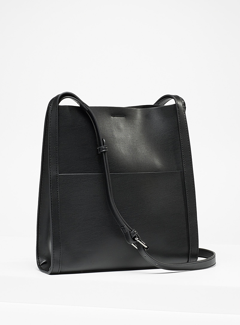 Simons Black Recycled trapeze shoulder bag for women
