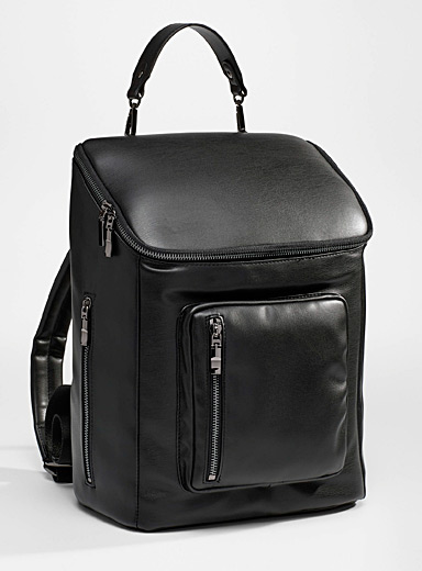 Faux-leather recycled backpack