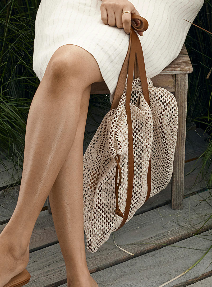 Arron Patterned White Sheer mesh bag for women