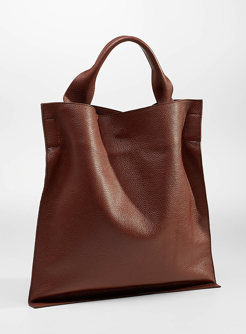 Arron Medium Brown Supple leather tote for women