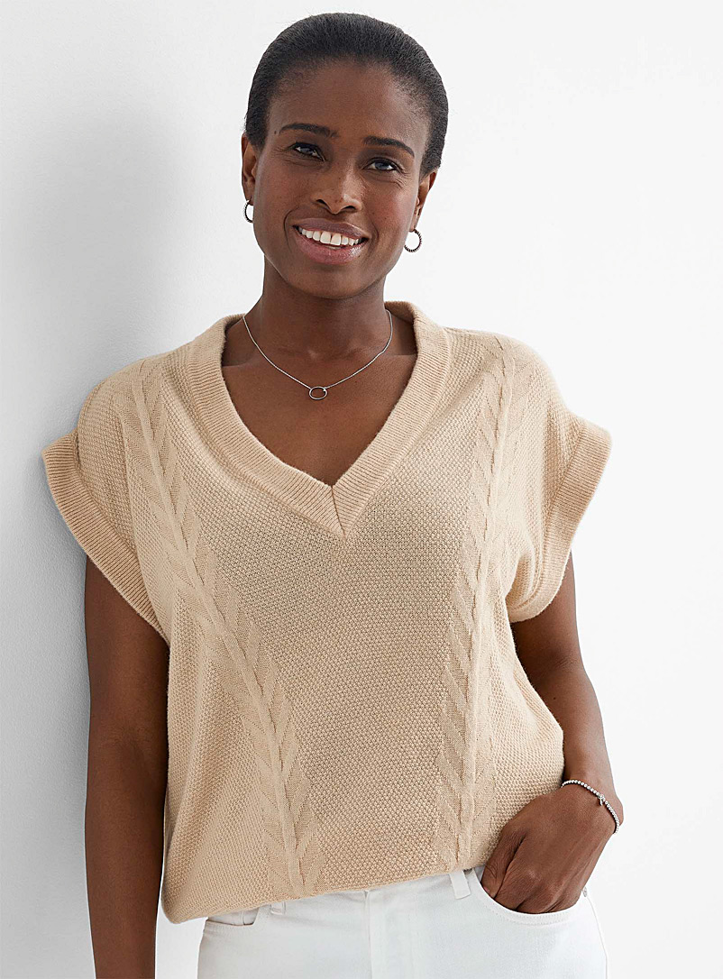 Contemporaine Sand Textured-knit loose sweater for women