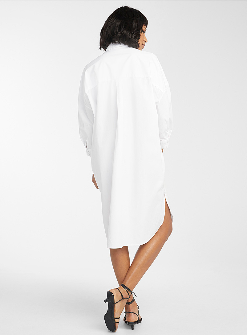 Icône White Oversized poplin shirtdress for women