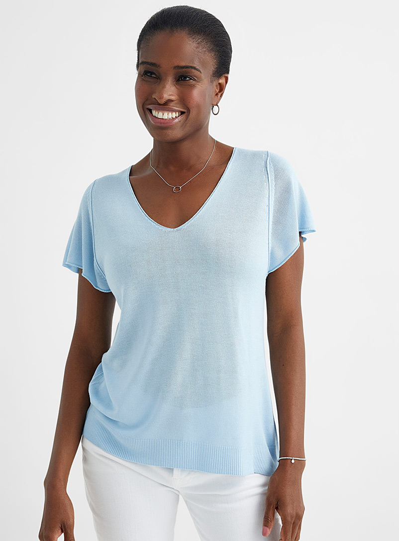 Contemporaine Baby Blue Touch of silk fluid sweater for women