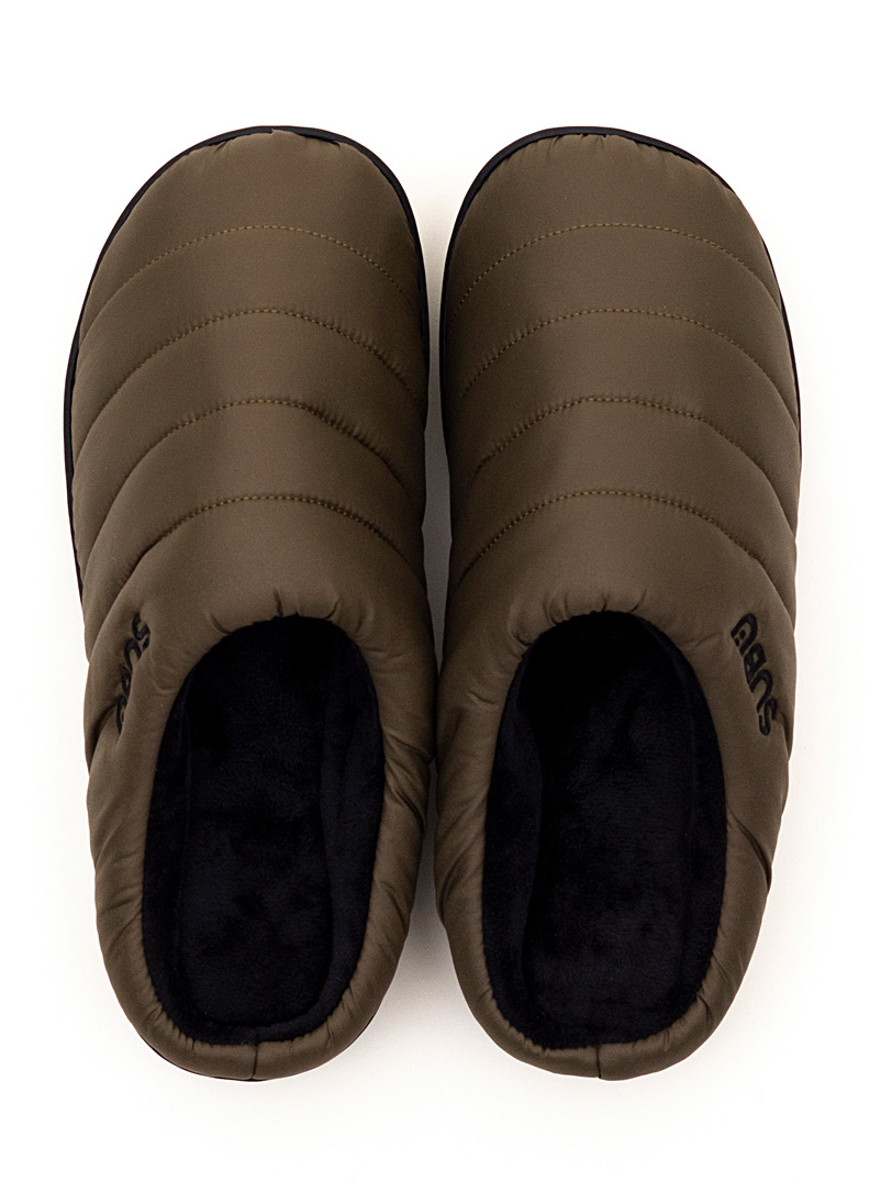 Subu Mossy Green Quilted mule slippers  Men for men