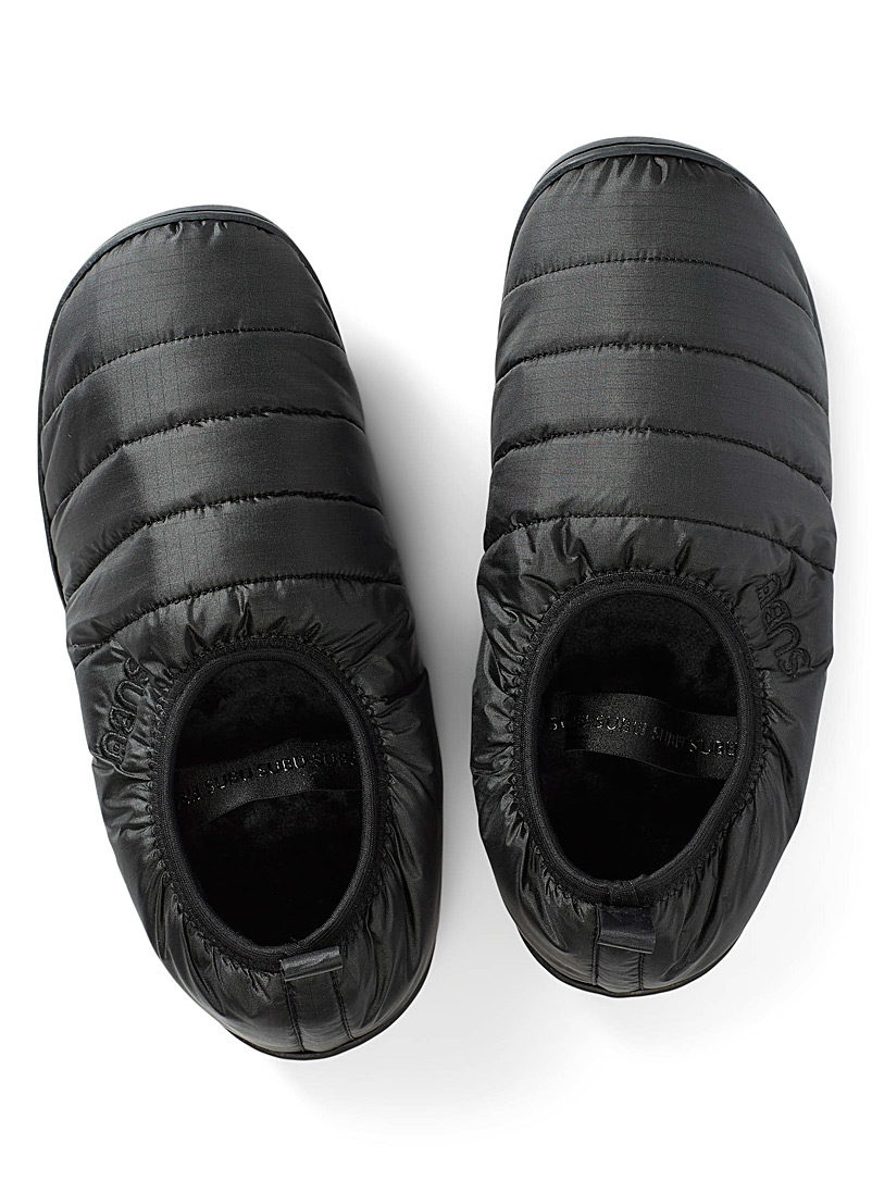 Subu Black Packable quilted slippers Men for men